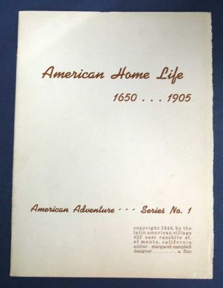AMERICAN HOME LIFE. 1650 ... 1905. American Adventure Series No. I. Text Booklet (only)....