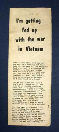 I'M GETTING FED UP With The WAR In VIETNAM. Vietnam Anti-War Brochure, Marvin Garson