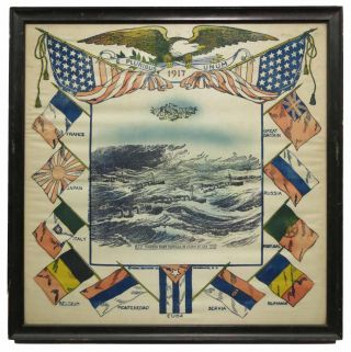 TORPEDO BOAT FLOTILLA In STORM At SEA. Original Framed 1917 World War I Souvenir Image on Cloth....