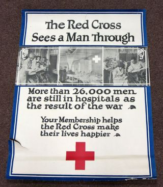 The RED CROSS SEES A MAN THROUGH. More than 26,000 Men are Still in Hospitals as the Result of the War. World War I. Poster.