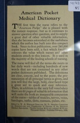 AMERICAN POCKET MEDICAL DICTIONARY. Nursing Textbook Advertisement Postcard, W. B. Saunders Company
