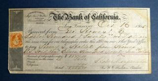 BANK Of CALIFORNIA TELEGRAPHIC ORDER, Dated October 16, 1865. Bank of California
