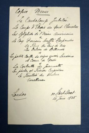 HANDWRITTEN SIX COURSE MENU Of FRENCH CUISINE. French Menu - Anonymous