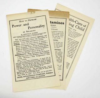 HOW To DEVELOP POWER And PERSONALITY In SPEAKING. [Plus five other Funk & Wagnalls titles]. Publisher Promotional Leaflet, Grenville Kleiser.