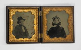 AMBROTYPE PHOTOGRAPH[S]. With decorative brass surrounds, in Union Case. James M. . Lilley...