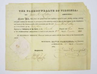 COMMISSIONING DOCUMENT. The Commonwealth of Virginia. 14th Day of November, 1838. James M. ....