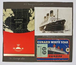 CUNARD WHITE STAR R.M.S. BERENGERIA. New York - Cherbourg - Southampton. 1936. European Tour Photograph Album / Travel Scrapbook / Ephemera Collection.