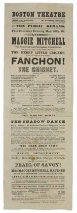 FANCHON! The CRICKET. Boston Theatre. May 26, 1864.; The PUBLIC DEMAND. This Thursday evening,...
