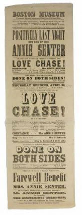 LOVE CHASE. Boston Museum. April 26. Theatre Playbill, Mrs. Annie Senter
