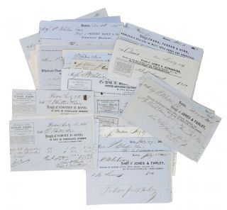 ARCHIVE Of 120 BILLHEAD RECEIPTS, 1840s - 1860s, To P. WHITIN & SONS, Whitinsville, Mass.