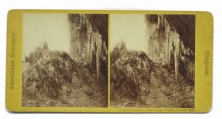 AMERICAN SCENERY. Niagara. Under the Shell, Cave of the Winds, Canada Side. Stereoview Photograph