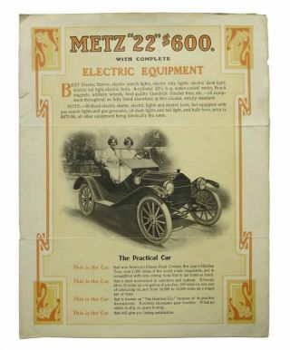 "METZ ""22"" $600 with Complete Electric Equipment. Automotive Advertising Brochure"