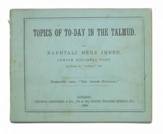 "TOPICS Of TO-DAY In The TALMUD. Reprinted from ""The Jewish Standard."""