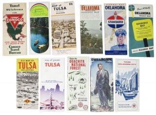LOT Of OKLAHOMA ROAD, HIGHWAY And AREA MAPS. 1940s - 1979. Travel