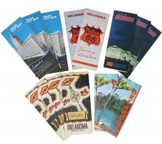 LOT Of OKLAHOMA ROAD, HIGHWAY And AREA MAPS. 1940s - 1979.