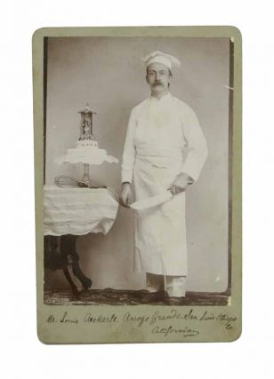 PASTRY CHEF SILVER GELATIN CABINET CARD PHOTOGRAPH. Mr. Louis Aeckerle. Arroyo Grande. San...