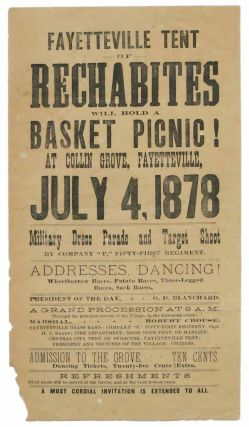 FAYETTEVILLE TENT Of RECHABITES Will Hold a BASKET PICNIC! At Collin Grove, Fayettevill, July 4,...