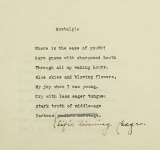 POETRY ARCHIVE Of WINONA MONTGOMERY GILLILAND. Including Typescript Poems, Publications, and Two Photographs.