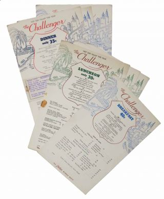 The CHALLENGER. Lot of 6 Menus, 1940 - 1941 - (Sun Valley and Union Pacific Railroad). Menu /...