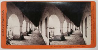 37. PORCH Of The OLD MISSION Of SAN JUAN-- Monterey Co. California Stereoview.