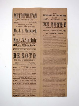METROPOLITAN THEATRE. MONTGOMERY STREET. DE SOTO! The Hero of the Mississippi.; Second Night of...