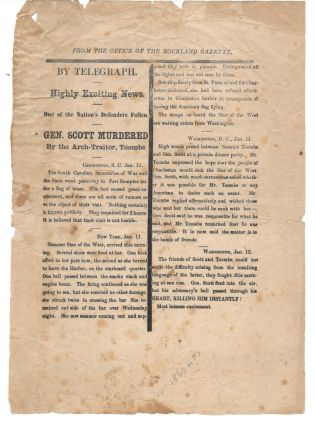 MAINE BROADSIDE ON THE FIRST SHOTS OF THE CIVIL WAR. American Civil War