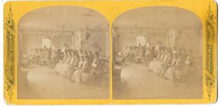 MUSIC LESSON AT ENFIELD, NH SHAKER VILLAGE. Stereoview - Shakers, W. G. C. Kimball