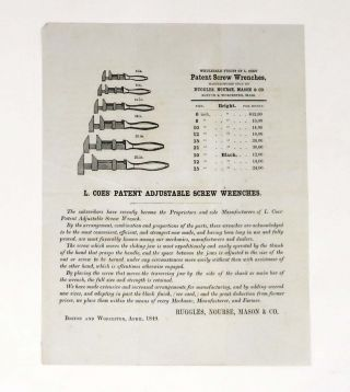 L. COES' PATENT ADJUSTABLE SCREW WRENCHES. Trade circular