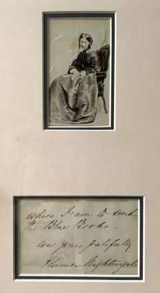 FRAMED PHOTOGRAPH And MANUSCRIPT SIGNATURE / LETTER EXCERPT. Florence Nightingale, 1820 - 1910.