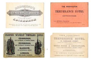 FOUR TEMPERANCE HOTEL CARDS. Temperance