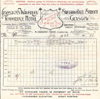 RECEIPT From CRANSTON'S WAVERLEY TEMPERANCE HOTEL.; If We Please You Tell Others, If We Don't,...