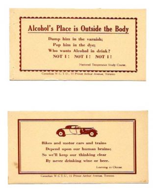 TWO TEMPERANCE PROMOTION CARDS. Temperance