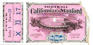 GAME TICKET. California vs Stanford. November Nineteenth 1927.; Sec X Row 73 Seat 17 Price ...