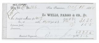 WELLS FARGO WAY BILL No. 366. 18th Oct 1864. 19th C. San Francisco Ephemera