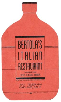 BERTOLA'S ITALIAN RESTAURANT.; Famous for Fried Chicken Dinners. Over Two Million Dinners Served...