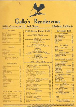 GALLO'S RENDEZVOUS.; 107th Avenue and E. 14th Oakland, California. Restaurant Menu - Oakland