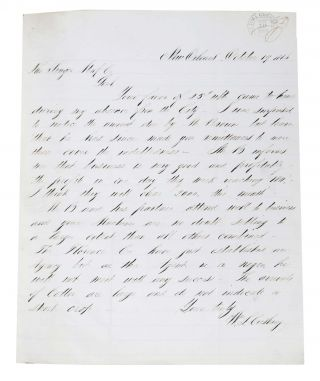 AUTOGRAPH LETTER, SIGNED. To Singer Manf. Co. October 19 1866. Civil Ware Era African American History, William L. - Agent Cushing.