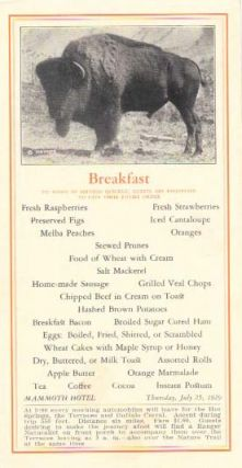 BREAKFAST, MAMMOTH HOTEL.; To Assist in Serving Quickly, Guests are Requested to Give There...