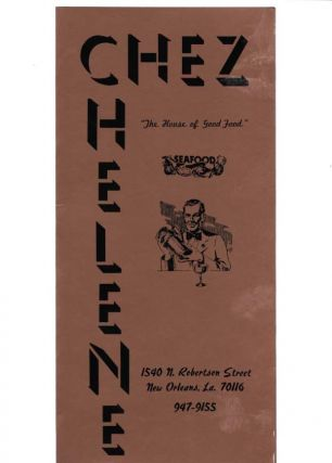 "CHEZ HELENE.; The House of Good Food"" Restaurant Menu - New Orleans"