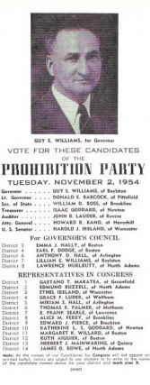 VOTE For THESE CANDIDATES Of The PROHIBITION PARTY.; Tuesday, November 2, 1954. Temperance -...