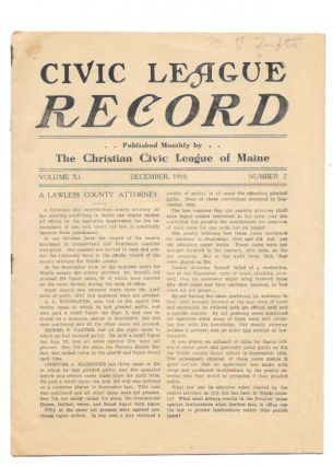 CIVIC LEAGUE RECORD.; Published Monthly by The Christian League of Maine. Volume XI Number 2....