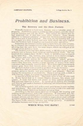 PROHIBITION And BUSINESS.; The Brewery and the Show Factory. Temperance - Prohibition
