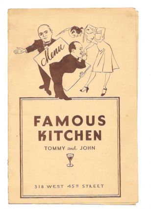 FAMOUS KITCHEN - TOMMY And JOHN.; 318 West 45th Street. Restaurant Menu - New York