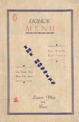 The ROSSLYN, LIQUOR MENU.; Liquor Wine and Beer. Beverage Menu - Los Angeles
