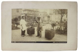 CABINET CARD PHOTOGRAPH. Chinese Vegetable Pedler in San Francisco, Cal. B 5399. Isaiah West...
