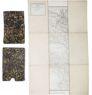 ARLES. And Surrounding Environs. 19th C. Folding Line-Backed Map