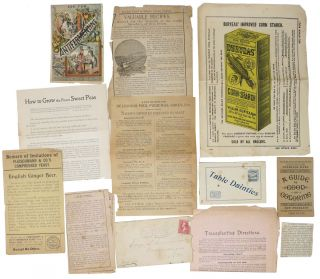 COLLECTION Of NEWSPAPER CLIPPINGS, HAND WRITTEN NOTES And SMALL PAMPHLETS RELATING To COOKING, GARDENING and HOUSEHOLD CHORES.