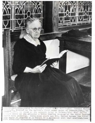 NATION'S FIRST WOMAN MAYOR - MRS. SUSANNA MADORA SALTER.; Sixty-Nine Years Ago Mrs. Salter Became...