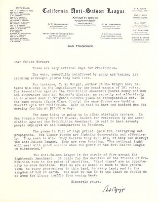 "TWO TYPED LETTERS, ONE On CALIFORNIA ANTI-SALOON LEAGUE LETTERHEAD.; ""These Are Very Critical..."