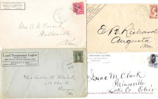 LOT Of FOUR ENVELOPES SENT From VARIOUS TEMPERANCE ORGANIZATIONS. Temperance.